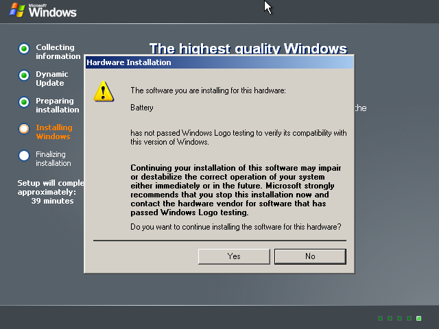 Windows Server 2003 x64 Setup - Unsigned Driver Warning